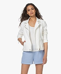 Repeat Cotton Twill Biker Jacket - Cream