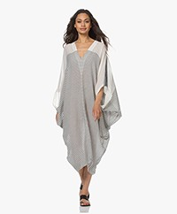 SU Paris Bahia Striped Cotton Kaftan - Ecru/Black