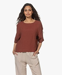 Woman by Earn Merel Linnen Korte Mouwen Blouse - Burnt Orange