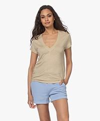 IRO Rodeo Linen V-neck T-shirt - Beige