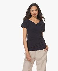 no man's land Tech Jersey Wrap Design T-shirt - Dark Sapphire