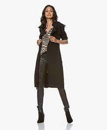 Norma Kamali Bonded Tech Jersey Trench Coat - Black