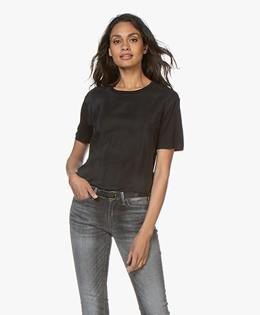 Denham Canyon Mixed Media T-shirt - Zwart