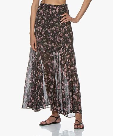 IRO Diamond Flower Printed Chiffon Skirt - Black