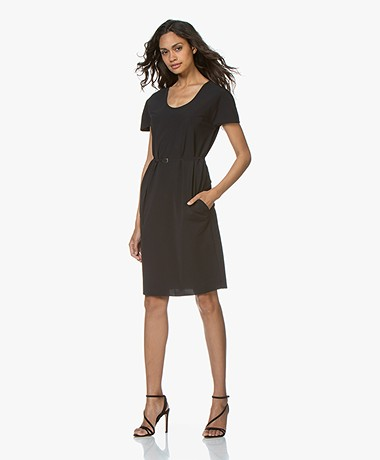 JapanTKY Rini Travel Jersey Dress with Cap Sleeves - Black