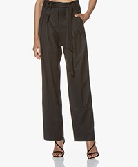 IRO Naringo Wool Blend Paperbag Pants - Anthracite