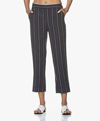 MKT Studio Pim Linen Blend Striped Pants - Navy