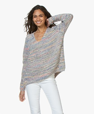 Closed Oversized Alpaca Mix Trui  - Multi Color