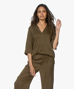 Filippa K Silk Tunic Blouse - Hike Green