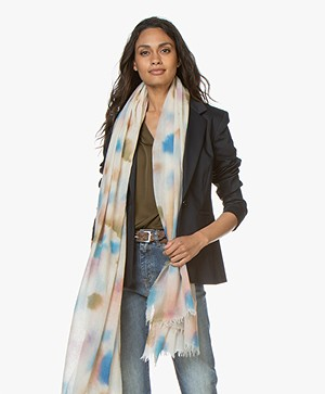 Closed Printed Wool Scarf - Ivory