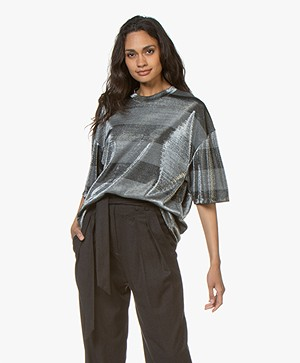 IRO Darby Oversized Lurex T-shirt - Grey