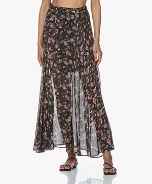 IRO Diamond Flower Printed Chiffon Skirt - Black