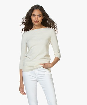 extreme cashmere N°92 Sweet Cropped Sleeve Sweater - Cream