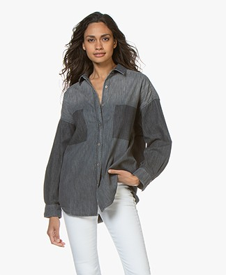 IRO Alysa Oversized Denim Blouse - Patch Black