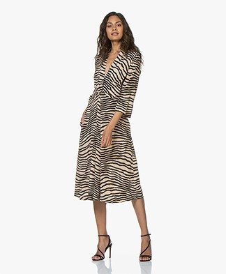 By Malene Birger Keelia Zebra Print Dress - Dry Desert