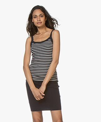 Filippa K Fine Rib Striped Singlet - Navy/Ivory