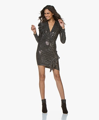 IRO Loulou Sequins Dress with Puff Sleeves - Black
