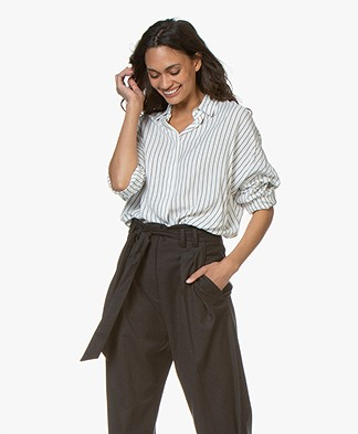 IRO Markina Striped Viscose Shirt - White/Black