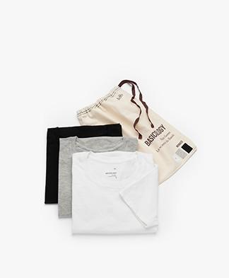 LDB Design By...  3-Pack Monaco Pointelle Jersey T-shirts - Zwart/Wit/Grijs
