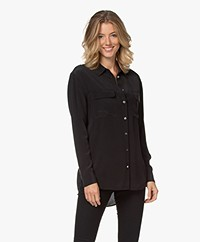 Equipment Signature Washed-silk Shirt - Black