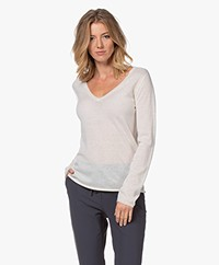 Majestic Filatures Delicate Cashmere V-neck Sweater - Milk
