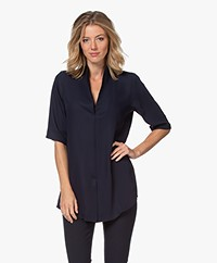 Woman By Earn Liv Crêpe Blouse met Korte Mouwen - Navy