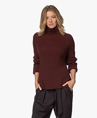 Drykorn Arwen Rib Knit Turtleneck Sweater - Bitter Chocolate