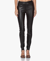 LaSalle Leather Slim-fit Pants - Black