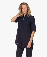 Woman By Earn Liv Crepe Short Sleeve Blouse - Navy