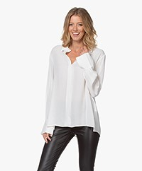 Repeat Viscose Twill Blouse - Cream