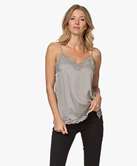 Repeat Silk Blend Top with Lace - Taupe