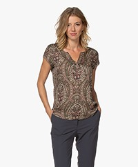 Repeat Silk Cap Sleeve Blouse with Paisley Print - Khaki