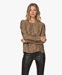 Drykorn Delania Viscose Leopard Print Blouse - Warm Sand