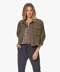 Denham Gibbons Oversized Cotton Jacket - Army Green