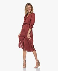 Repeat Silk Blend Shirt Dress with Optional Tie Belt - Terracotta