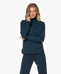 Sibin/Linnebjerg Lisa Turtleneck Sweater in Merino Wool - Solid Petrol