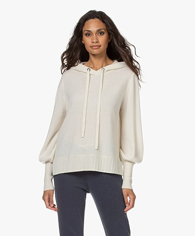 Repeat Organic Cashmere Hooded Sweater - Cream