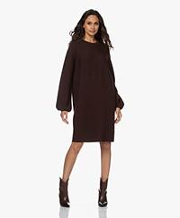 Drykorn Marisa Knitted Puff Sleeve Dress - Mahogany