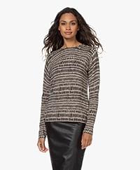 Belluna Allure Viscose-Wool Blend Printed Sweater - Sand/Black