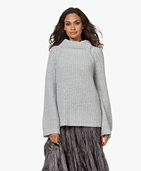 LaSalle Wool Blend Turtleneck Sweater with Flared Sleeves - Grey