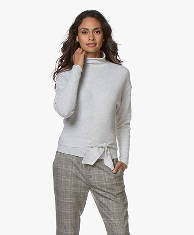 Josephine & Co Giuseppe Turtleneck Sweater with Self-tie Belt - Light Grey