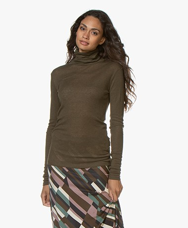 Closed Rib Jersey Colshirt in Lyocell en Wol - Sea Tangle