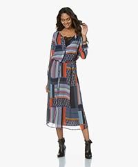 Josephine & Co Giza Chiffon Shirt Dress - Print Navy