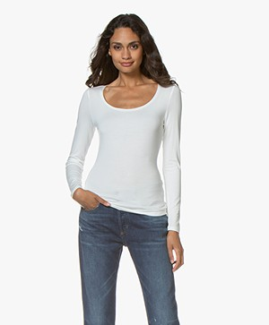no man's land Basic Viscose Long Sleeve - Ivory