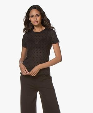Rag & Bone Bre Swiss Dot Flock T-shirt - Black