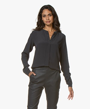 by-bar Indy Viscose Crêpe Blouse - Midnight