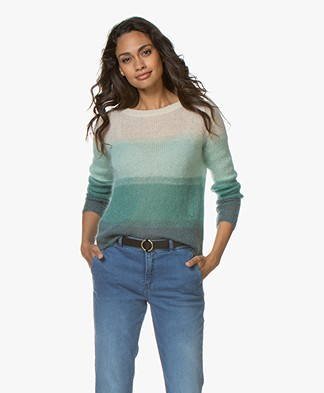 no man's land Mohair Blend Ombre Sweater - Vintage Green