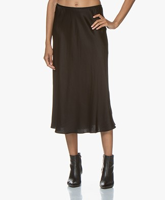 Resort Finest Frivo Satin Midi Skirt - Black