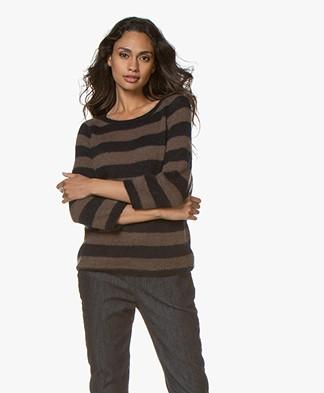 Sibin/Linnebjerg Panama Striped Sweater - Brown/Navy