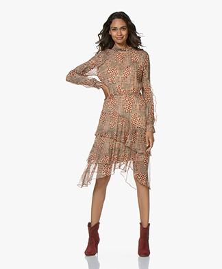 Ba&sh Macha Printed Ruffle Dress - Nude